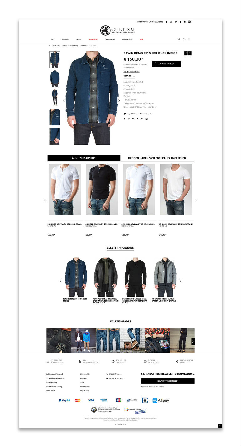 Shop-Relaunch cultizm.com (Screenshot)